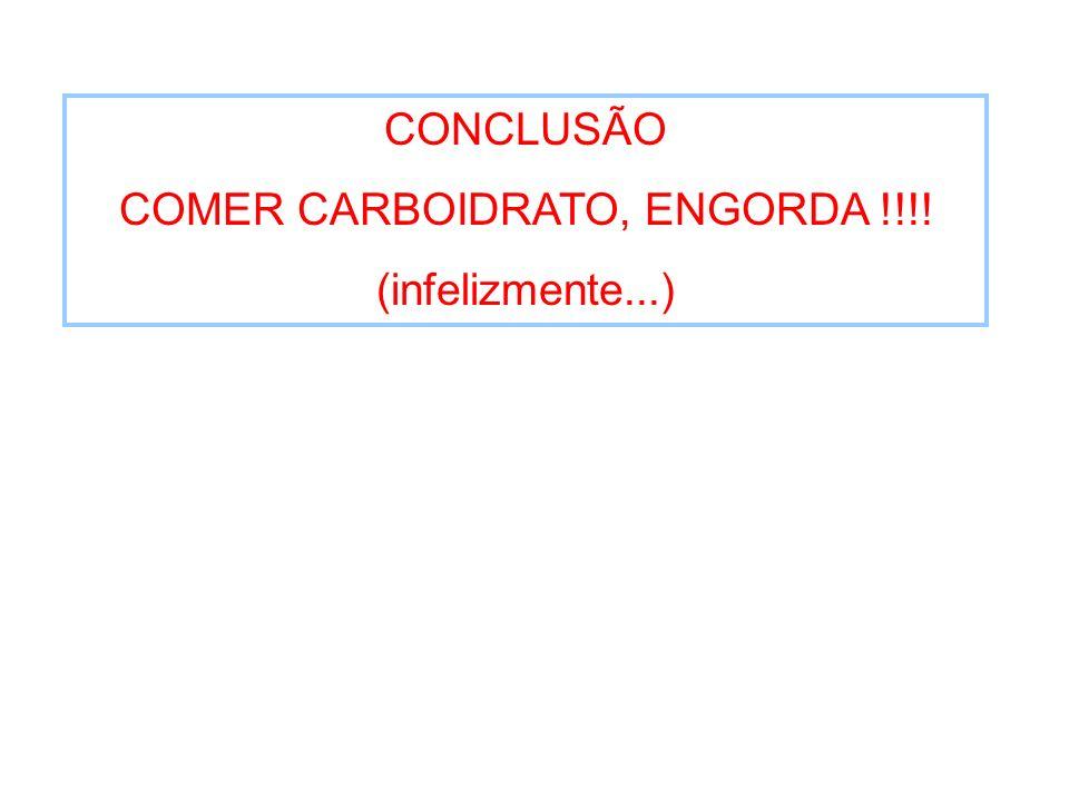 CONCLUSÃO COMER CARBOIDRATO, ENGORDA !!!! (infelizmente...)