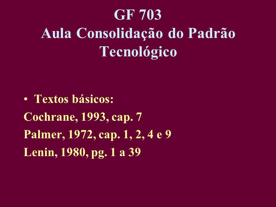 GF 703 Aula Consolidação do Padrão Tecnológico Textos básicos: Cochrane, 1993, cap. 7 Palmer, 1972, cap. 1, 2, 4 e 9 Lenin, 1980, pg. 1 a 39