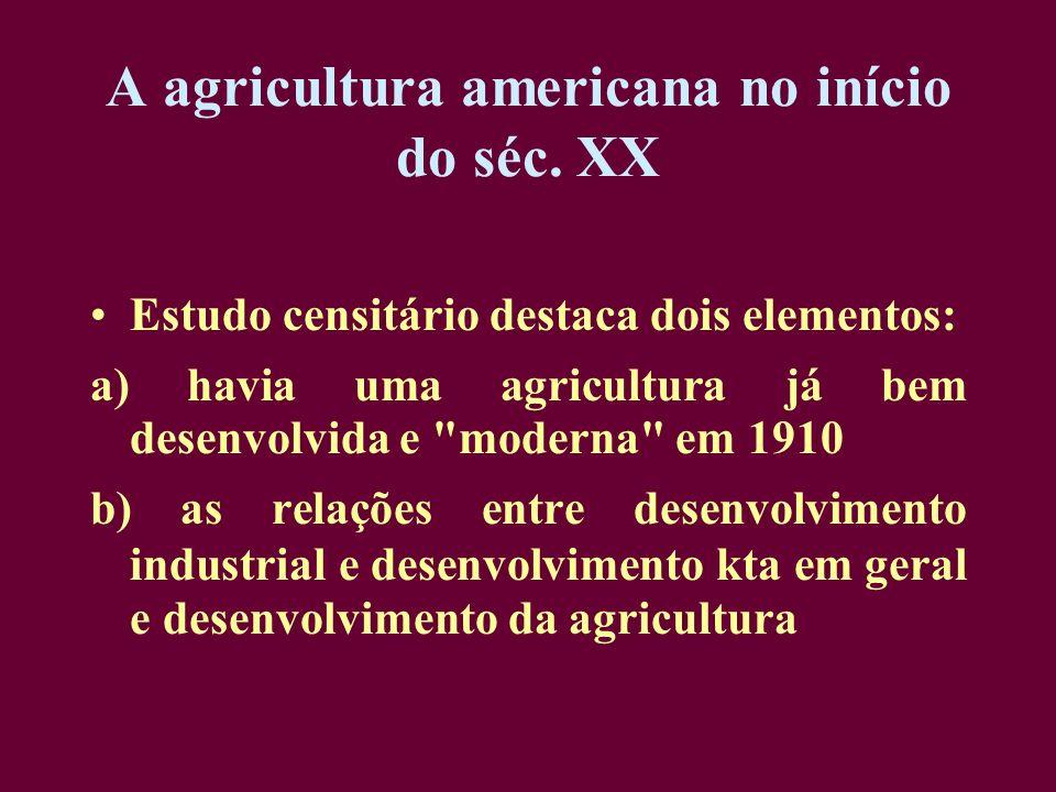 A agricultura americana no início do séc. XX Estudo censitário destaca dois elementos: a) havia uma agricultura já bem desenvolvida e