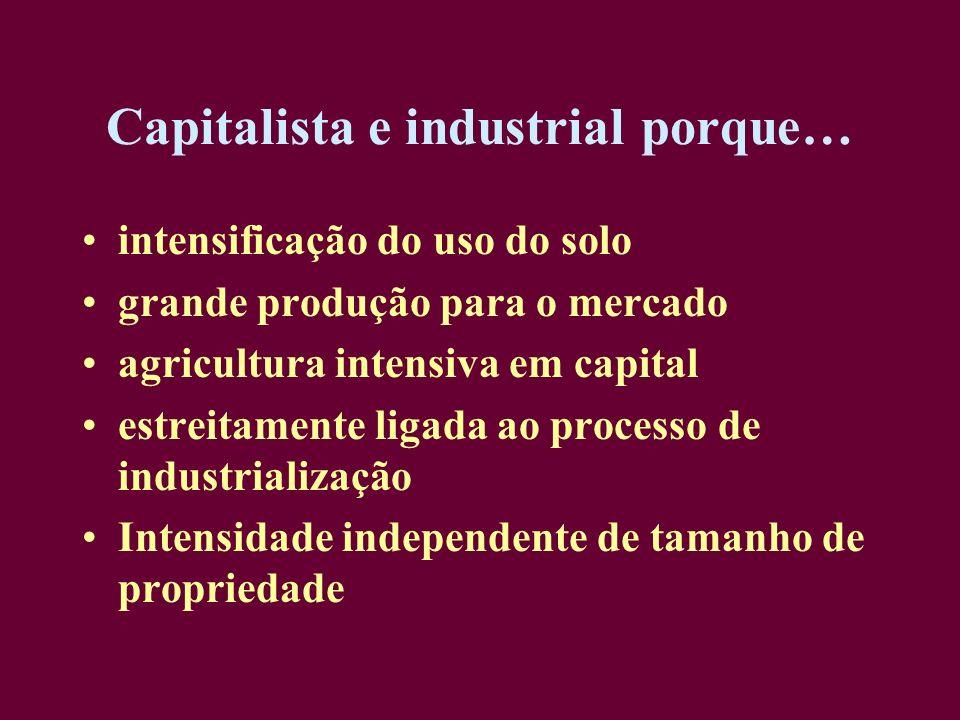 Capitalista e industrial porque… intensificação do uso do solo grande produção para o mercado agricultura intensiva em capital estreitamente ligada ao