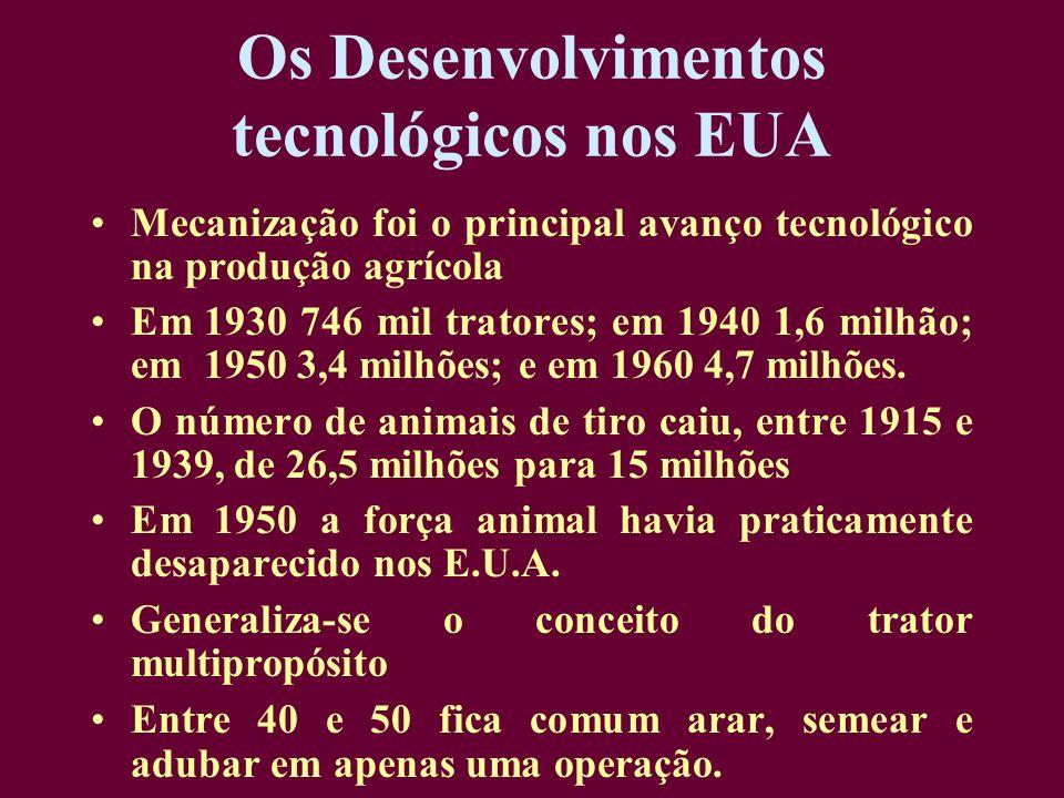 Os Desenvolvimentos tecnológicos nos EUA Mecanização foi o principal avanço tecnológico na produção agrícola Em 1930 746 mil tratores; em 1940 1,6 mil