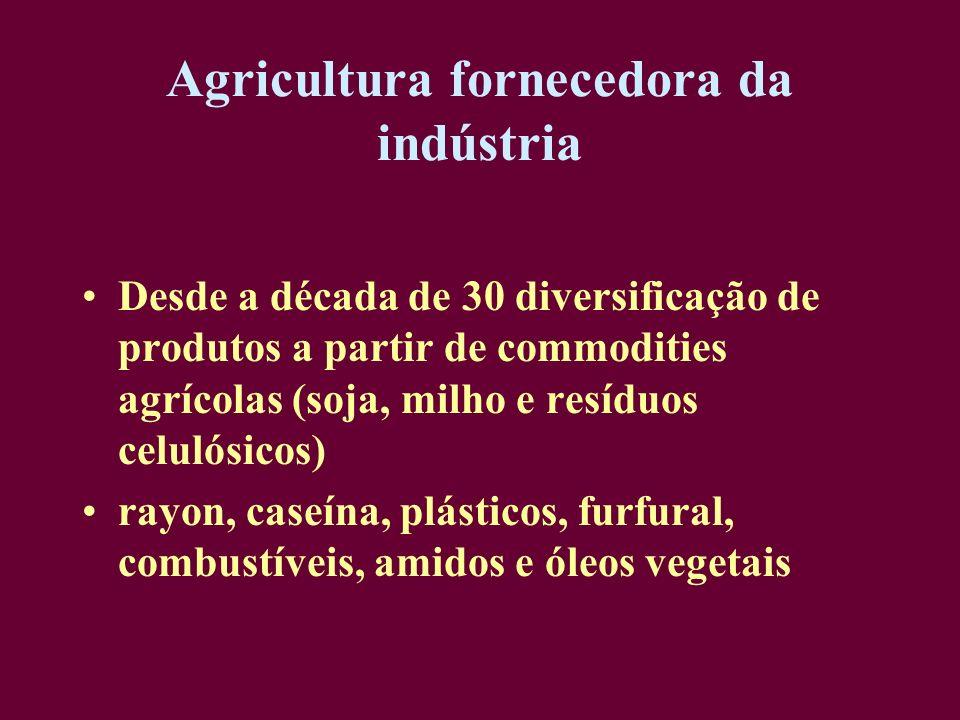 Agricultura fornecedora da indústria Desde a década de 30 diversificação de produtos a partir de commodities agrícolas (soja, milho e resíduos celulós