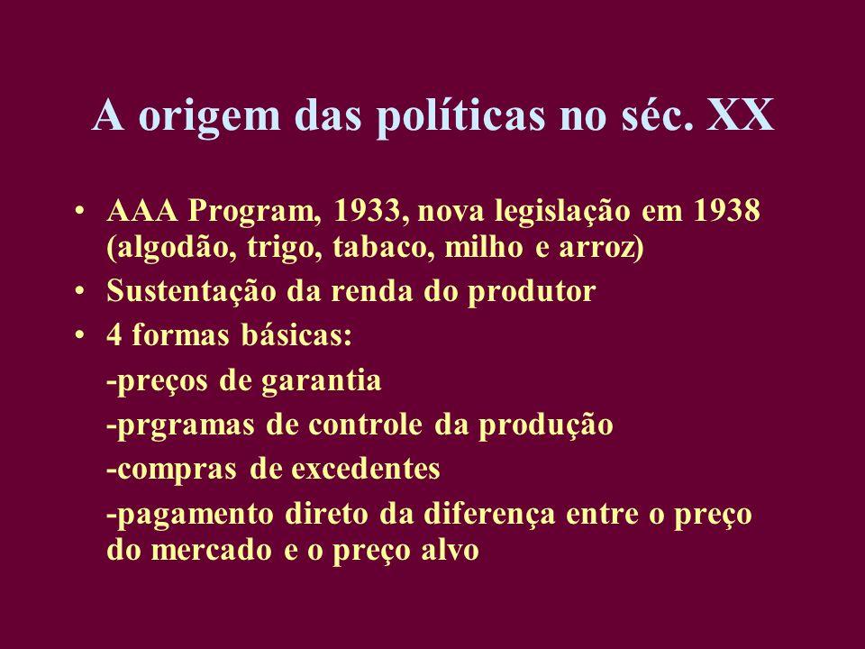A origem das políticas no séc. XX AAA Program, 1933, nova legislação em 1938 (algodão, trigo, tabaco, milho e arroz) Sustentação da renda do produtor