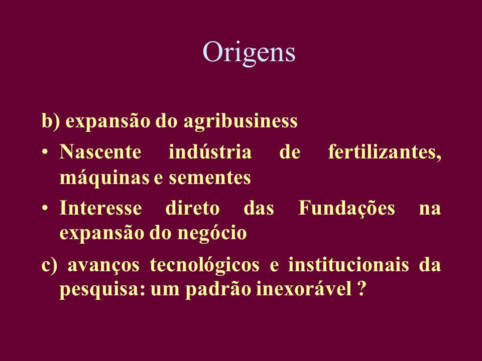 Origens b) expansão do agribusiness Nascente indústria de fertilizantes, máquinas e sementes Interesse direto das Fundações na expansão do negócio c)