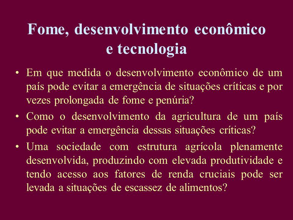 Fome, desenvolvimento econômico e tecnologia Em que medida o desenvolvimento econômico de um país pode evitar a emergência de situações críticas e por