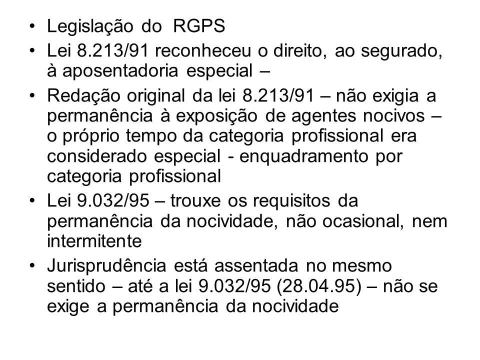 Legislação do RGPS Lei 8.213/91 reconheceu o direito, ao segurado, à aposentadoria especial – Redação original da lei 8.213/91 – não exigia a permanên
