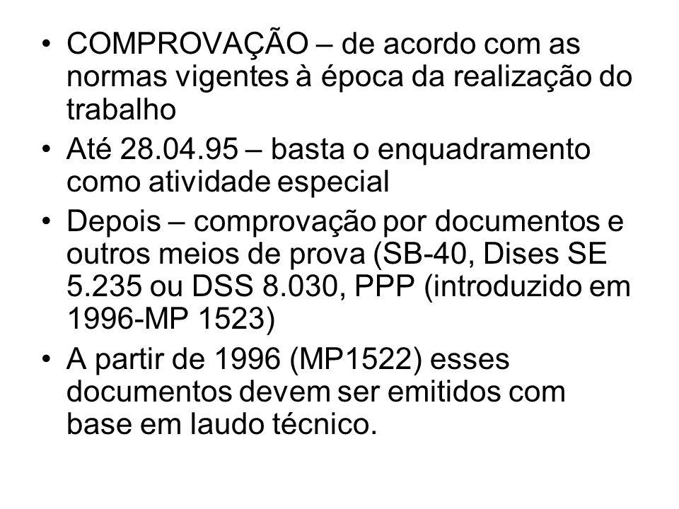 COMPROVAÇÃO – de acordo com as normas vigentes à época da realização do trabalho Até 28.04.95 – basta o enquadramento como atividade especial Depois –