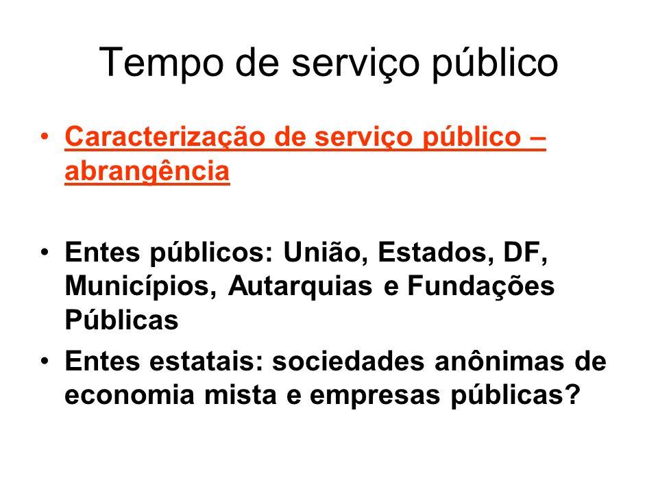 Tempo de serviço público Caracterização de serviço público – abrangência Entes públicos: União, Estados, DF, Municípios, Autarquias e Fundações Públic