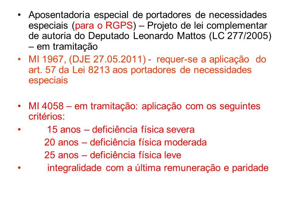 Aposentadoria especial de portadores de necessidades especiais (para o RGPS) – Projeto de lei complementar de autoria do Deputado Leonardo Mattos (LC