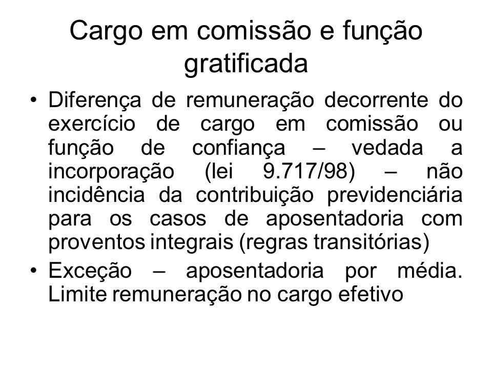 Cargo em comissão e função gratificada Diferença de remuneração decorrente do exercício de cargo em comissão ou função de confiança – vedada a incorpo