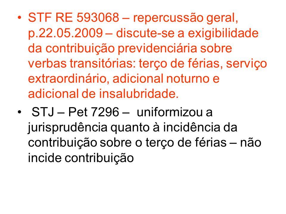 STF RE 593068 – repercussão geral, p.22.05.2009 – discute-se a exigibilidade da contribuição previdenciária sobre verbas transitórias: terço de férias