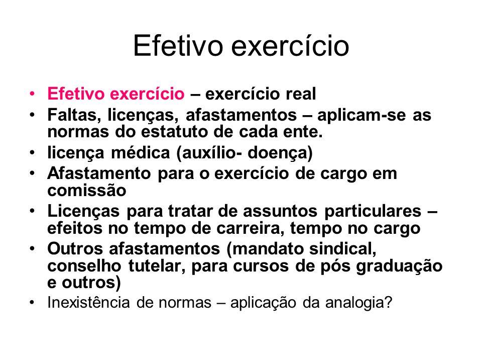 Efetivo exercício Efetivo exercício – exercício real Faltas, licenças, afastamentos – aplicam-se as normas do estatuto de cada ente. licença médica (a