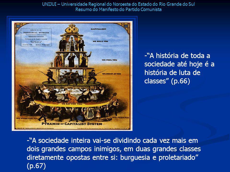 -A história de toda a sociedade até hoje é a história de luta de classes (p.66) -A sociedade inteira vai-se dividindo cada vez mais em dois grandes ca