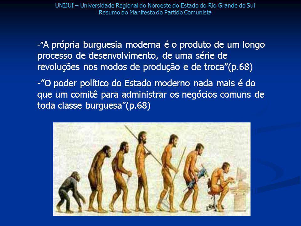 - A própria burguesia moderna é o produto de um longo processo de desenvolvimento, de uma série de revoluções nos modos de produção e de troca(p.68) -