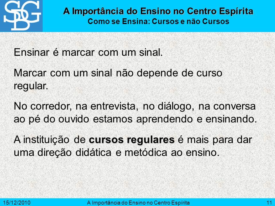 15/12/2010A Importância do Ensino no Centro Espírita11 Ensinar é marcar com um sinal. Marcar com um sinal não depende de curso regular. No corredor, n