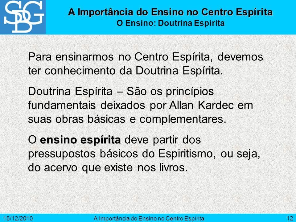 15/12/2010A Importância do Ensino no Centro Espírita12 Para ensinarmos no Centro Espírita, devemos ter conhecimento da Doutrina Espírita. Doutrina Esp