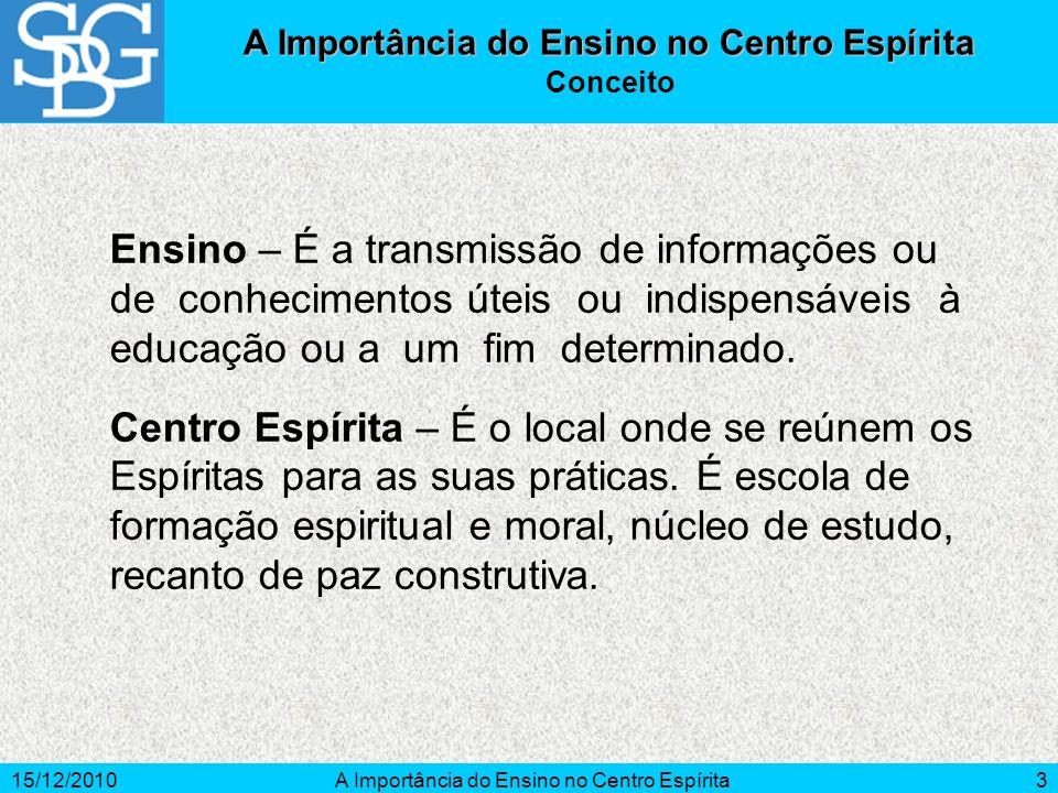 15/12/2010A Importância do Ensino no Centro Espírita3 Ensino – É a transmissão de informações ou de conhecimentos úteis ou indispensáveis à educação o