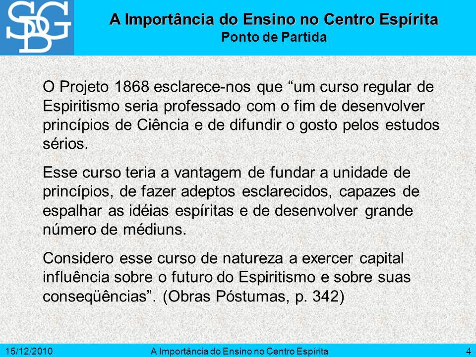 15/12/2010A Importância do Ensino no Centro Espírita4 O Projeto 1868 esclarece-nos que um curso regular de Espiritismo seria professado com o fim de d