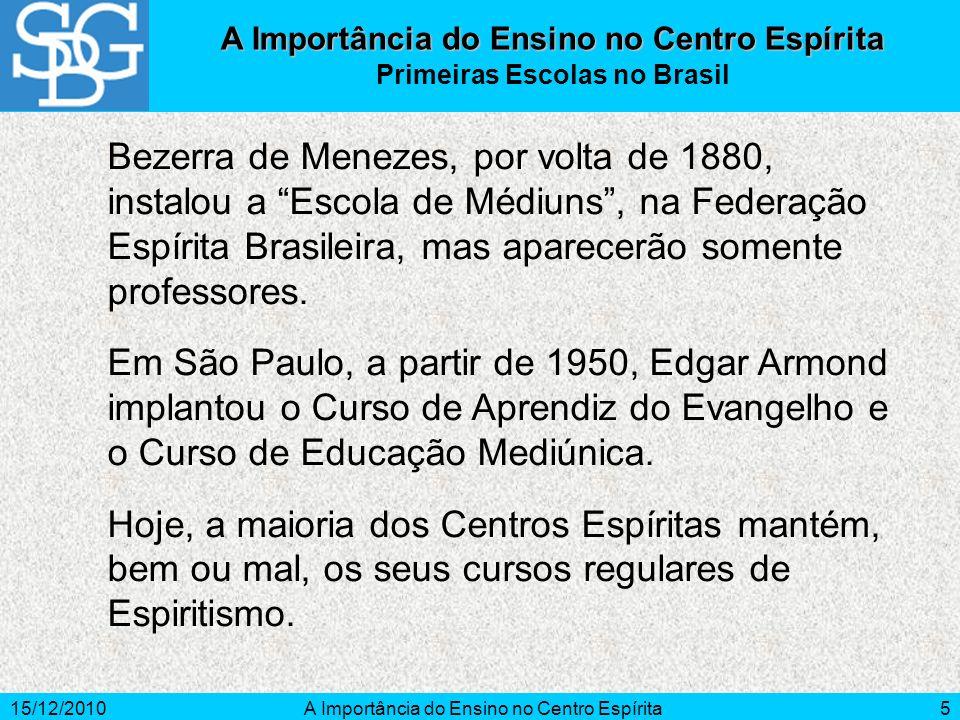 15/12/2010A Importância do Ensino no Centro Espírita5 Bezerra de Menezes, por volta de 1880, instalou a Escola de Médiuns, na Federação Espírita Brasi