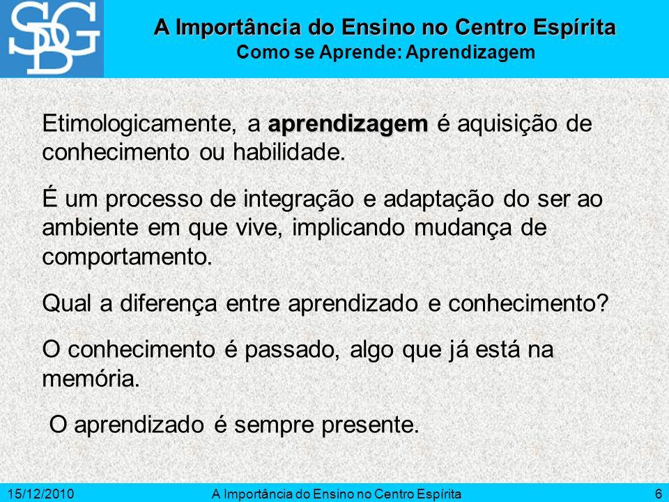15/12/2010A Importância do Ensino no Centro Espírita6 Como se Aprende: Aprendizagem aprendizagem Etimologicamente, a aprendizagem é aquisição de conhe