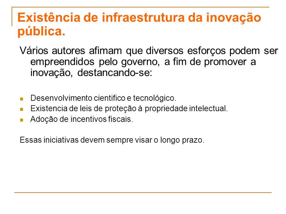 Existência de infraestrutura da inovação pública. Vários autores afimam que diversos esforços podem ser empreendidos pelo governo, a fim de promover a