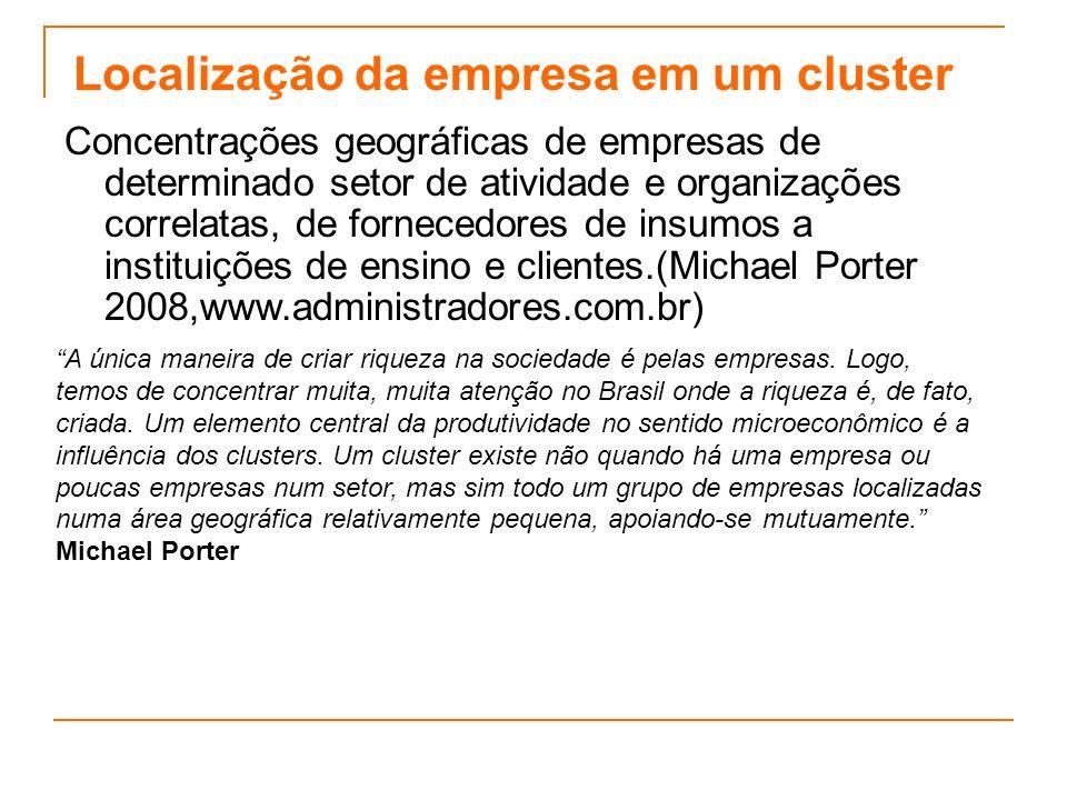 Localização da empresa em um cluster Concentrações geográficas de empresas de determinado setor de atividade e organizações correlatas, de fornecedore