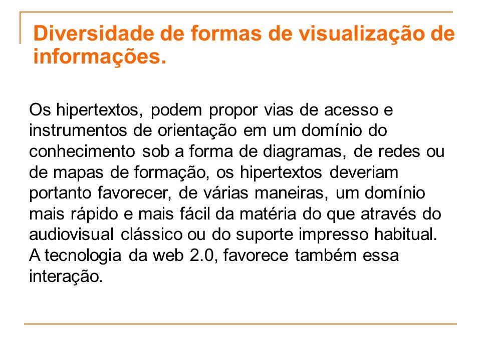 Diversidade de formas de visualização de informações. Os hipertextos, podem propor vias de acesso e instrumentos de orientação em um domínio do conhec