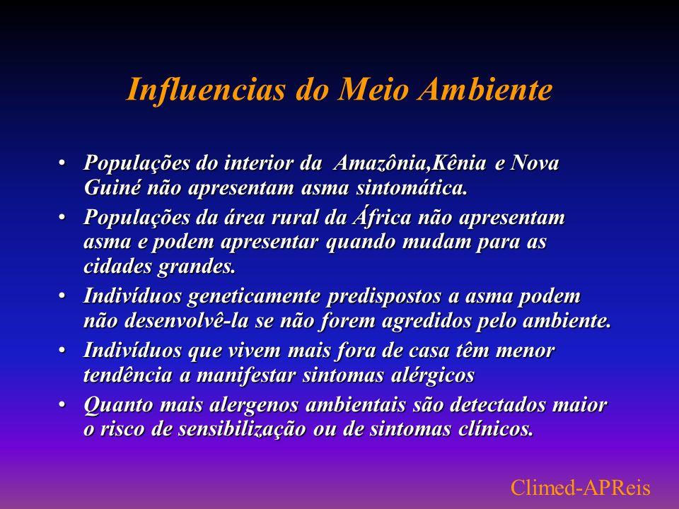Alergias no Brasil Até 1970 as alergias no Brasil atingiam 10% da população Entre 1970 e 1990-20% da população era atingida Atualmente -30/35% da popu