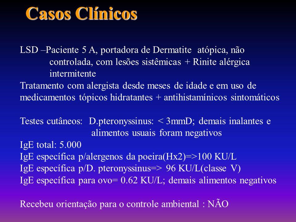 Casos Clínicos MOC –Paciente 32 A, portador de rinite alérgica persistente moderada+ asma brônquica persistente leve+ Dermatite atópica não controlada
