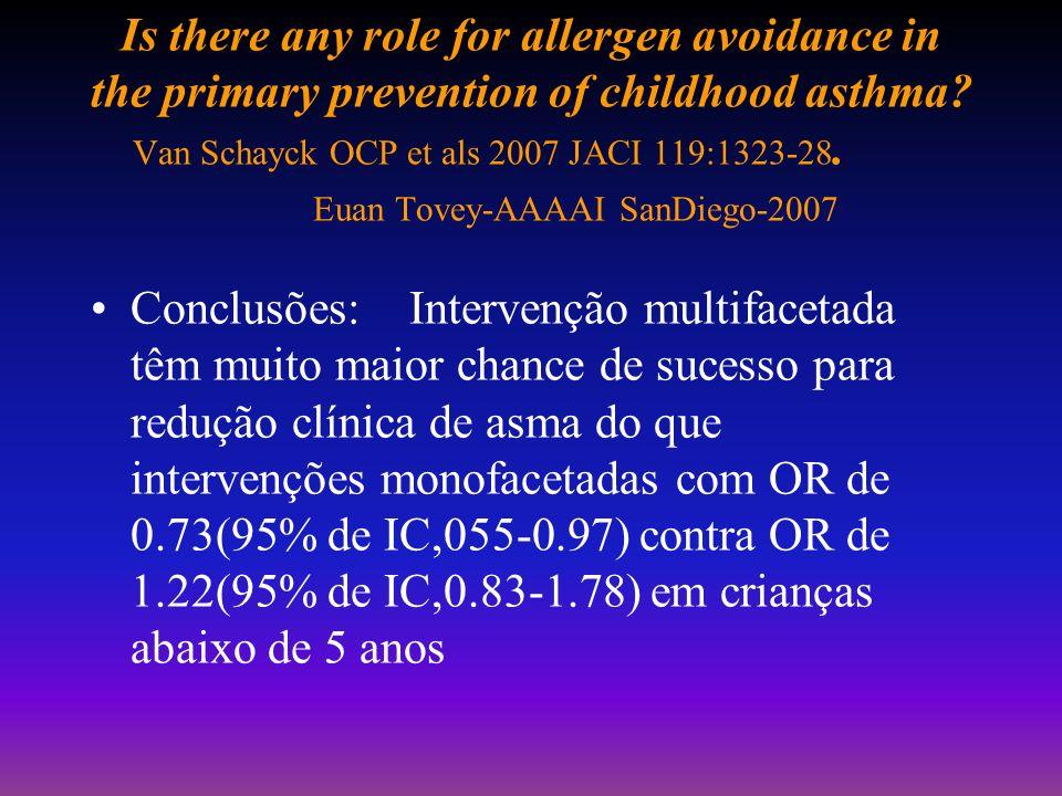 Addressing issues of asthma in inner-city children Busse WW,Mitchell H-2007 JACI ;119:43-50 Intervenção ativa em 469 casas e sem intervenção em 468: r
