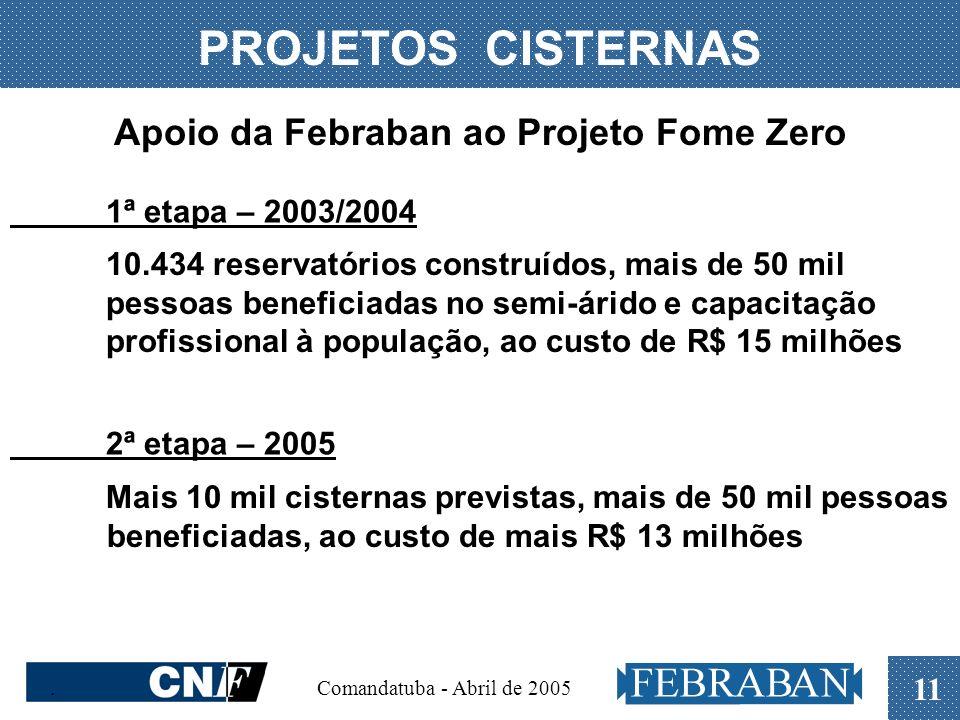 . Comandatuba - Abril de 2005 11 PROJETOS CISTERNAS Apoio da Febraban ao Projeto Fome Zero 1ª etapa – 2003/2004 10.434 reservatórios construídos, mais