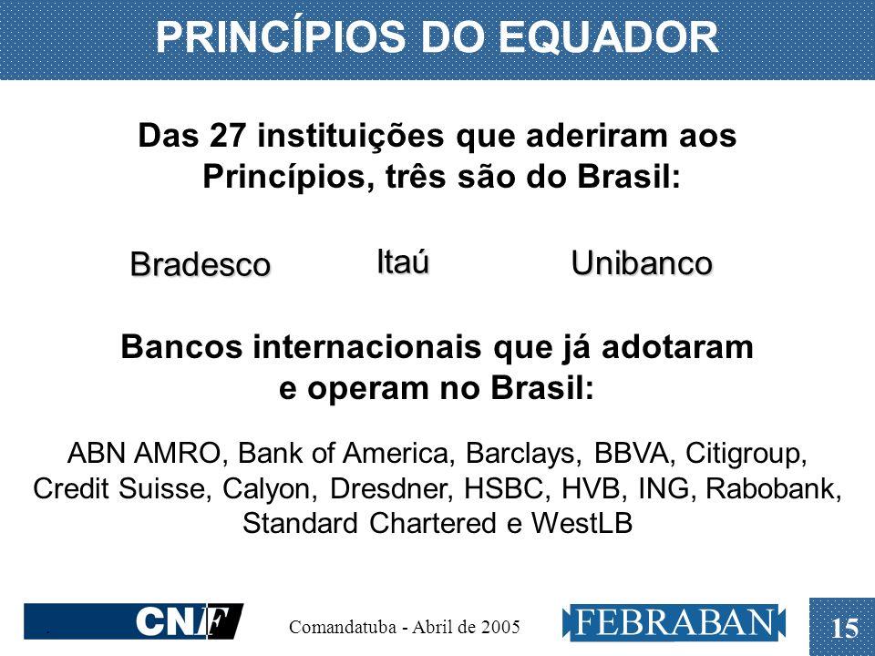 . Comandatuba - Abril de 2005 15 PRINCÍPIOS DO EQUADOR Das 27 instituições que aderiram aos Princípios, três são do Brasil: Itaú Bradesco Unibanco Ban
