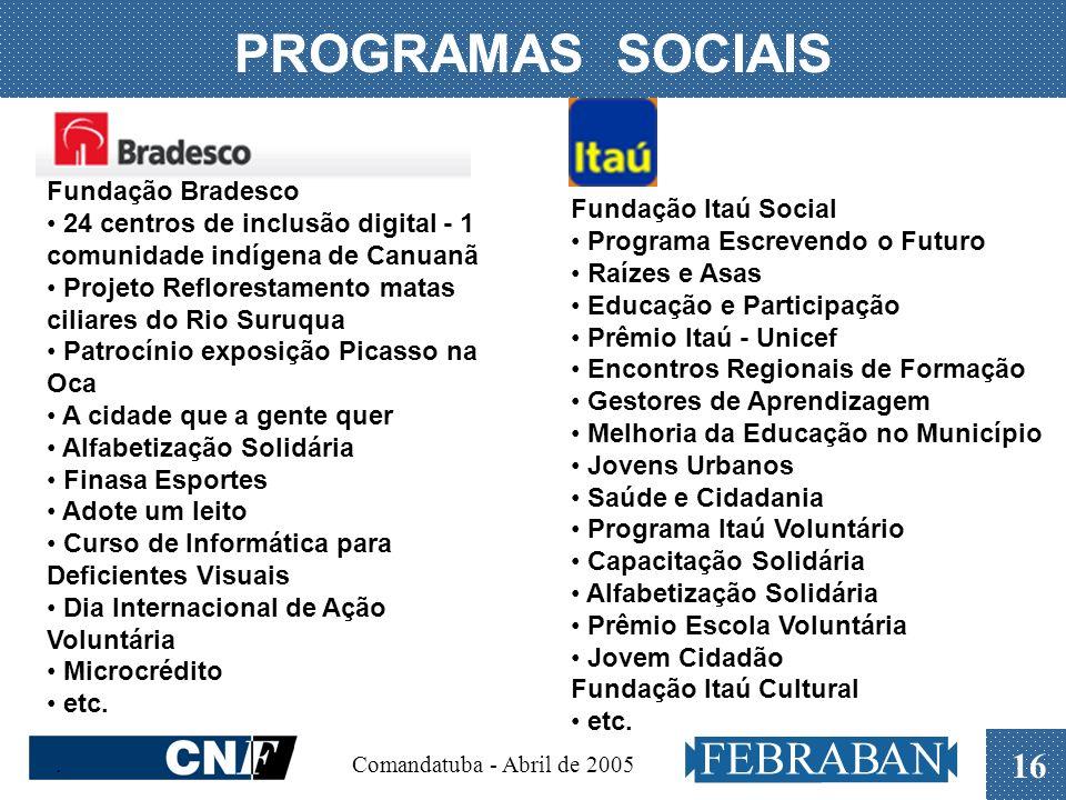 . Comandatuba - Abril de 2005 16 PROGRAMAS SOCIAIS Fundação Bradesco 24 centros de inclusão digital - 1 comunidade indígena de Canuanã Projeto Reflore