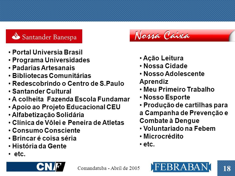 . Comandatuba - Abril de 2005 18 Portal Universia Brasil Programa Universidades Padarias Artesanais Bibliotecas Comunitárias Redescobrindo o Centro de