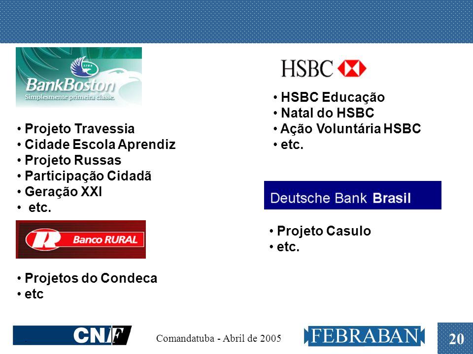 . Comandatuba - Abril de 2005 20 HSBC Educação Natal do HSBC Ação Voluntária HSBC etc. Projeto Travessia Cidade Escola Aprendiz Projeto Russas Partici