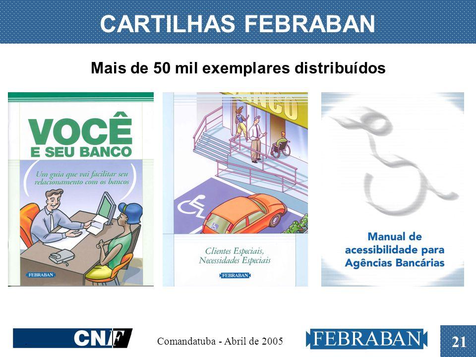 . Comandatuba - Abril de 2005 21 CARTILHAS FEBRABAN Mais de 50 mil exemplares distribuídos