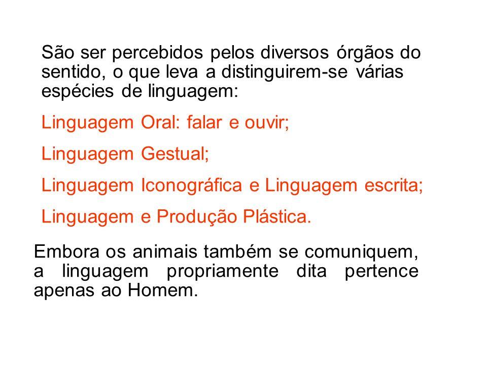 Embora os animais também se comuniquem, a linguagem propriamente dita pertence apenas ao Homem.