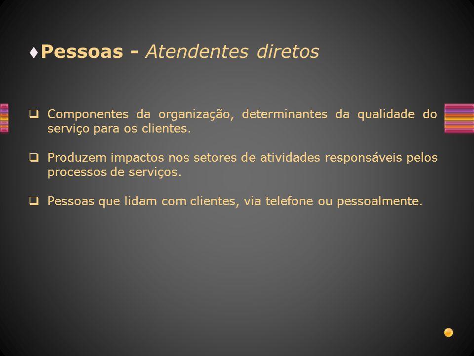 Pessoas - Atendentes diretos Componentes da organização, determinantes da qualidade do serviço para os clientes. Produzem impactos nos setores de ativ