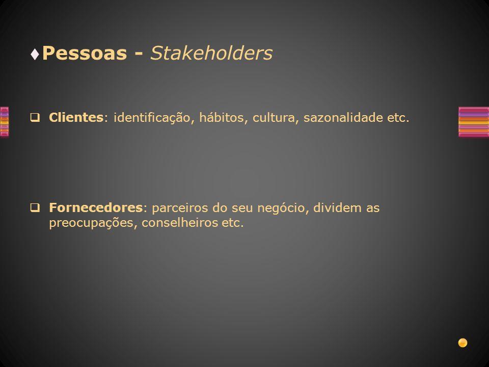 Pessoas - Stakeholders Clientes: identificação, hábitos, cultura, sazonalidade etc. Fornecedores: parceiros do seu negócio, dividem as preocupações, c