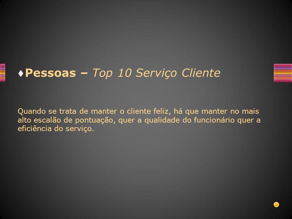 Pessoas – Top 10 Serviço Cliente Quando se trata de manter o cliente feliz, há que manter no mais alto escalão de pontuação, quer a qualidade do funci