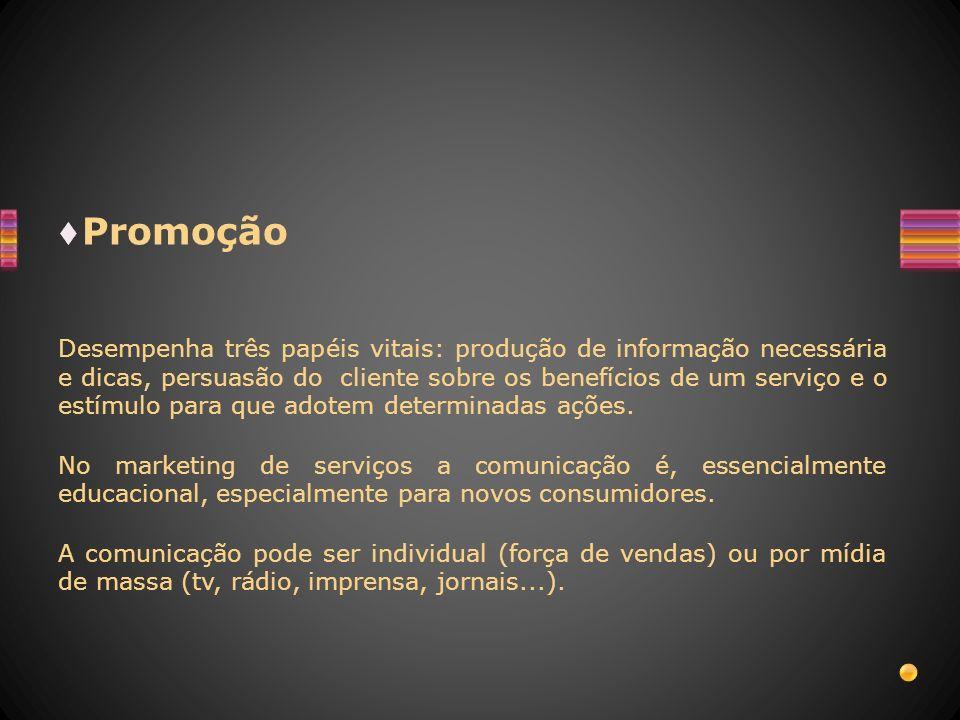 Promoção Desempenha três papéis vitais: produção de informação necessária e dicas, persuasão do cliente sobre os benefícios de um serviço e o estímulo