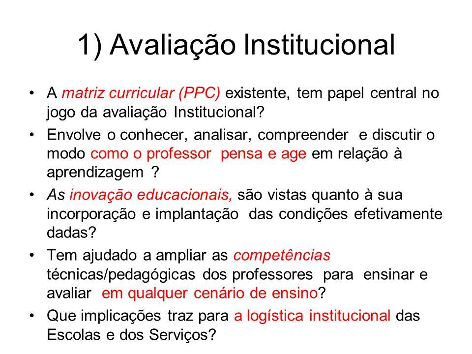 1) Avaliação Institucional A matriz curricular (PPC) existente, tem papel central no jogo da avaliação Institucional? Envolve o conhecer, analisar, co