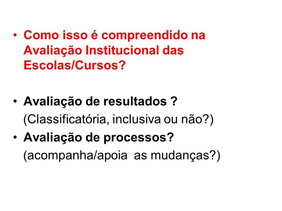 Como isso é compreendido na Avaliação Institucional das Escolas/Cursos? Avaliação de resultados ? (Classificatória, inclusiva ou não?) Avaliação de pr
