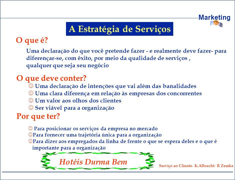 Marketing A Estratégia de Serviços O que é? Uma declaração do que você pretende fazer - e realmente deve fazer- para diferençar-se, com êxito, por mei
