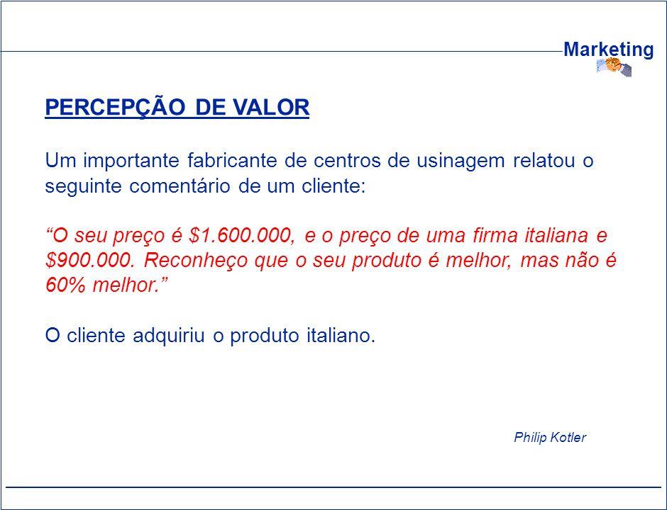 Marketing PERCEPÇÃO DE VALOR Um importante fabricante de centros de usinagem relatou o seguinte comentário de um cliente: O seu preço é $1.600.000, e