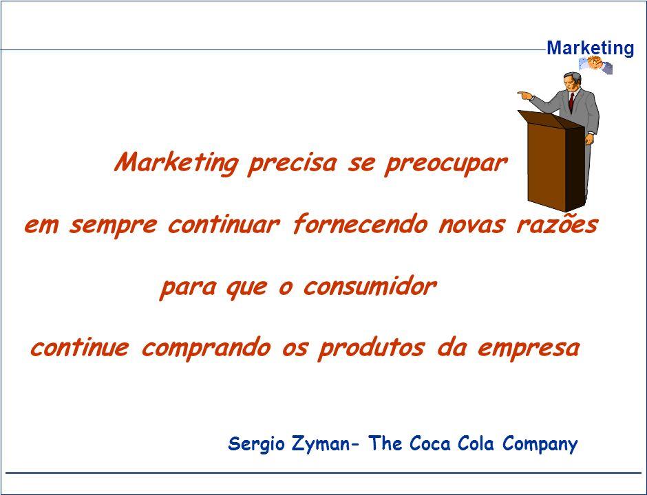 Marketing Marketing precisa se preocupar em sempre continuar fornecendo novas razões para que o consumidor continue comprando os produtos da empresa S