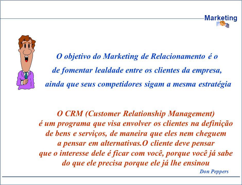 Marketing O objetivo do Marketing de Relacionamento é o de fomentar lealdade entre os clientes da empresa, ainda que seus competidores sigam a mesma e