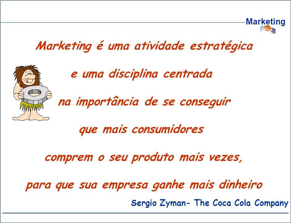Marketing Sergio Zyman- The Coca Cola Company Marketing é uma atividade estratégica e uma disciplina centrada na importância de se conseguir que mais