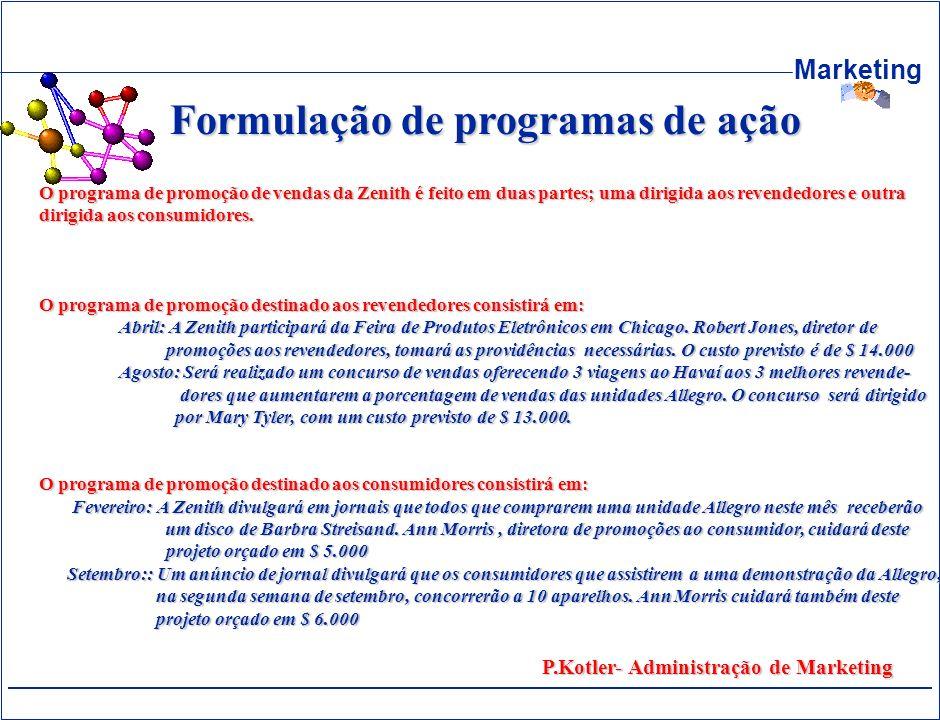 Marketing Formulação de programas de ação O programa de promoção de vendas da Zenith é feito em duas partes; uma dirigida aos revendedores e outra dir