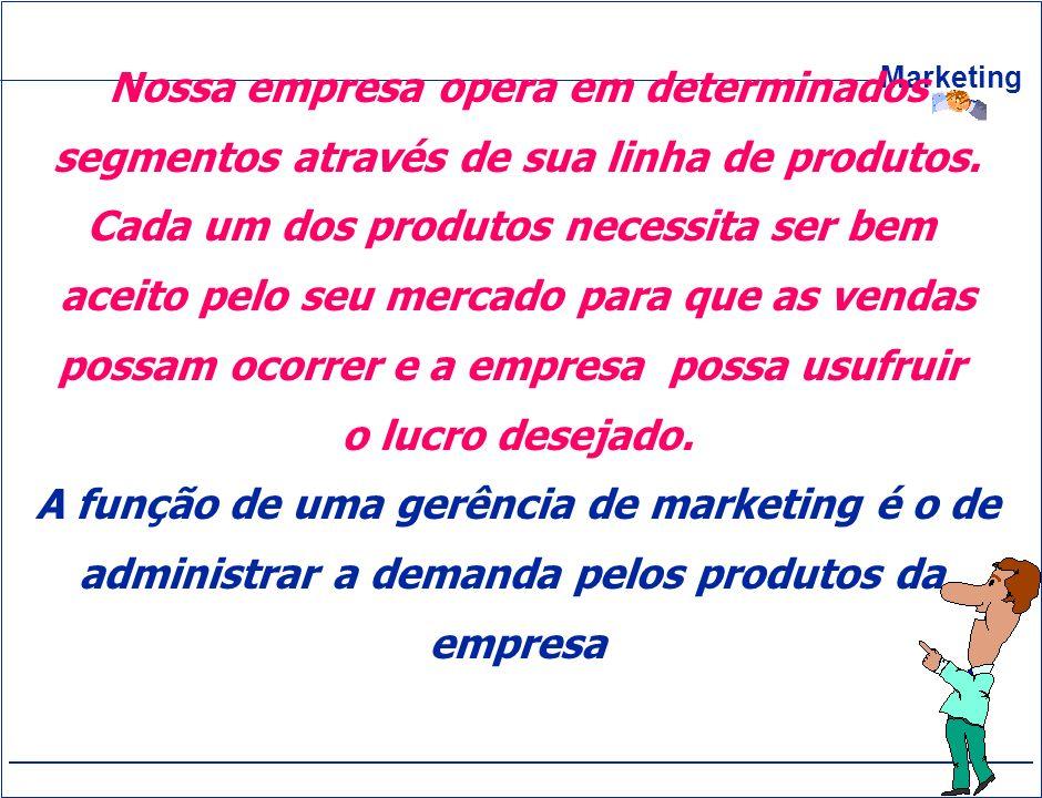 Marketing Nossa empresa opera em determinados segmentos através de sua linha de produtos. Cada um dos produtos necessita ser bem aceito pelo seu merca